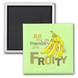 Todos mis amigos son con sabor a fruta imán cuadrado