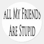 Todos mis amigos son estúpidos pegatina redonda