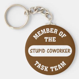 Todos mis compañeros de trabajo son idiotas estúpi llavero redondo tipo pin