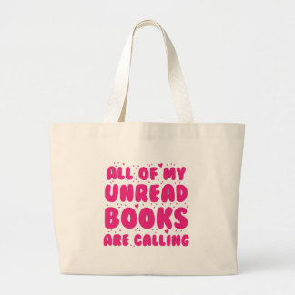 todos mis libros unread están llamando bolsa de tela grande