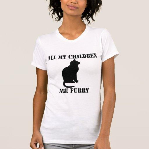 todos mis niños son peludos camisetas