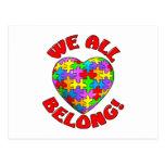 Todos pertenecemos corazón del rompecabezas postal