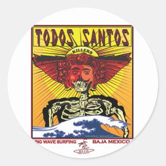 TODOS SANTOS BAJA MEXICO SURFING CLASSIC ROUND STICKER