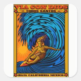 TODOS SANTOS SURFING BAJA MEXICO SQUARE STICKER