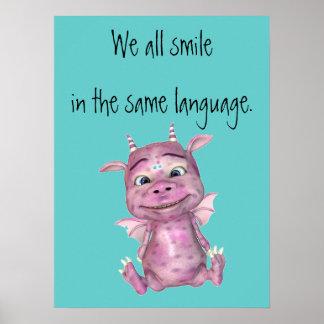 Todos sonreímos en el mismo poster de la lengua