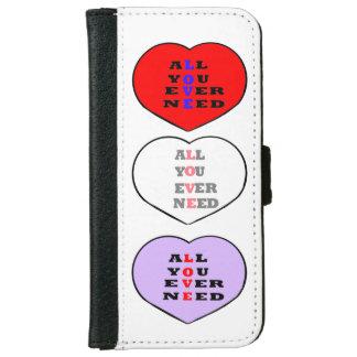 Todos usted necesita nunca amor, en un corazón, funda cartera para iPhone 6