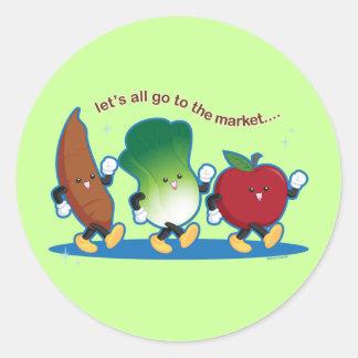Todos vayamos al mercado etiqueta redonda