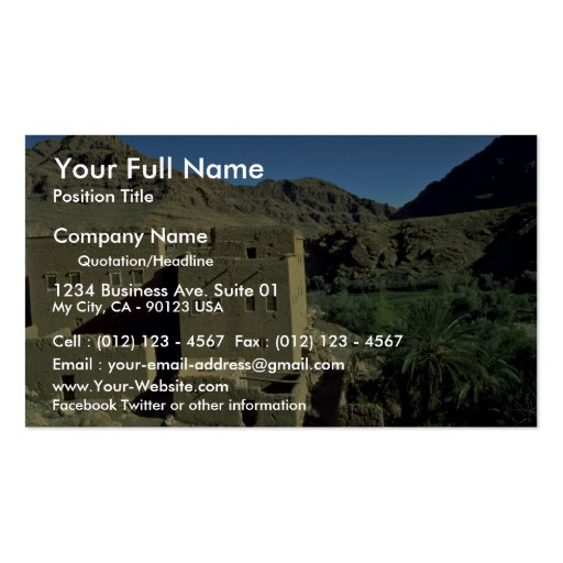 Todra Gorge oasis, Morocco Desert Double-Sided Standard Business Cards (Pack Of 100)