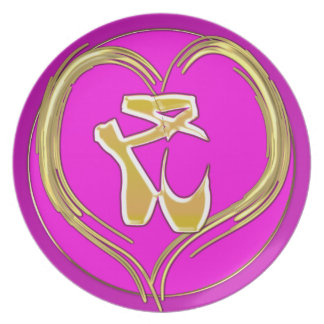 Toe shoes inside gold heart party plate