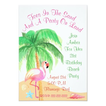 Beach Themed Toes In The Sand Flamingo Party Invitation