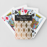 Toffee Brown and White Diamond Pattern Bicycle Card Decks