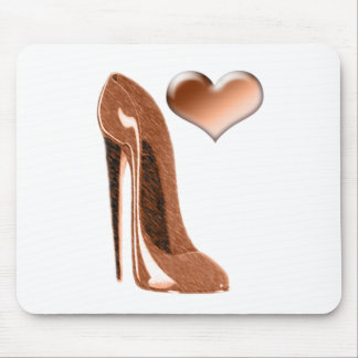 Toffee Stiletto High Heel Shoe and 3D Heart Mouse Pad