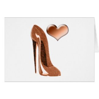 Toffee Stiletto Shoe and 3D Heart Greeting Card