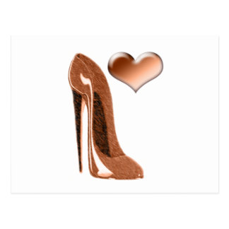 Toffee Stiletto Shoe and 3D Heart Postcard