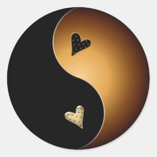 toffee yin yang classic round sticker