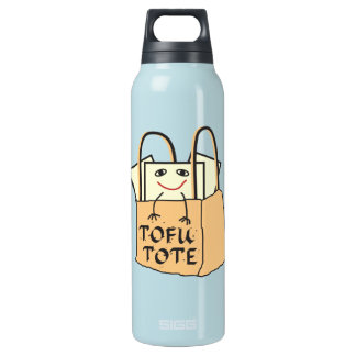 TOFU TOTE Tote Bag for Vegetarians and Vegans 16 Oz Insulated SIGG Thermos Water Bottle