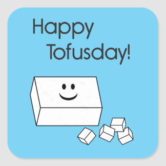 Tofusday feliz pegatina cuadradas personalizada