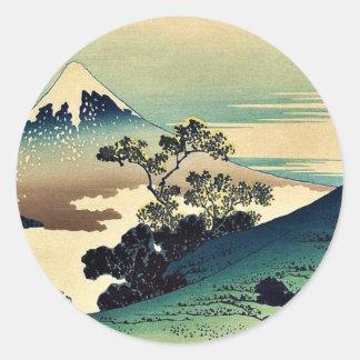 Toge del inume de Koshu por Katsushika, Hokusai Pegatina Redonda