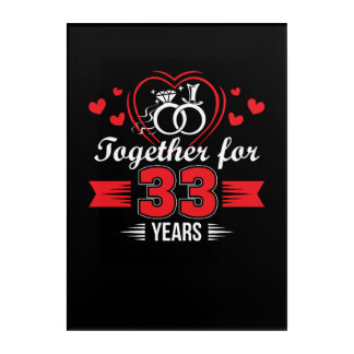 Together 33rd Wedding Anniversary Shirt Acrylic Wall Art