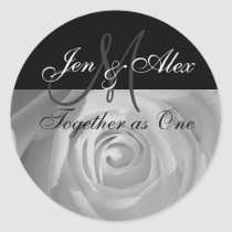 Together as One Names with Rose Photo Round Stickers