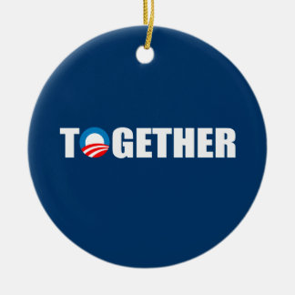 TOGETHER Double-Sided CERAMIC ROUND CHRISTMAS ORNAMENT