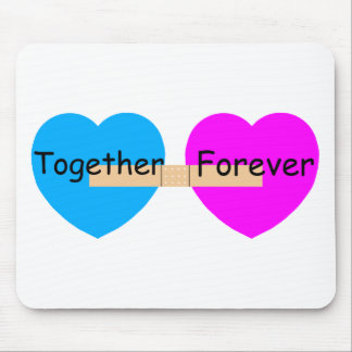 Together Forever Bandaide Hearts Mouse Pad