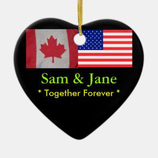 Together Forever Canada USA Flag Ornament