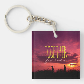 Together Forever Couple on Lavender Field Sunset Keychain