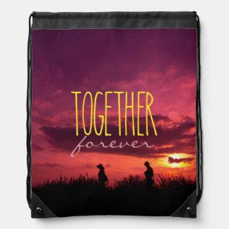 Together Forever Couple on Lavender Field Sunset Backpack