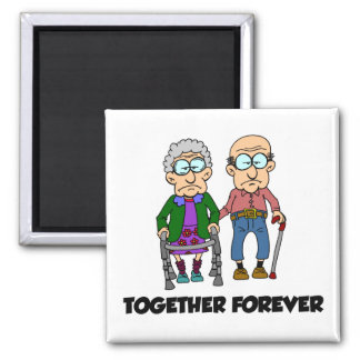 Together Forever Old Couple Anniversary Magnet
