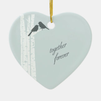 Together Forever Double-Sided Heart Ceramic Christmas Ornament