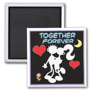 Together Forever-valentine couple stick figures 2 Inch Square Magnet