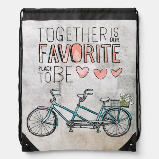 Together Is Our Favorite Place To Be | Blue Bike Drawstring Backpack