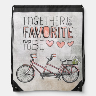 Together Is Our Favorite Place To Be | Pink Bike Drawstring Backpack