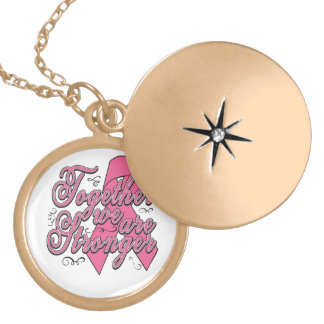 Together We Are Stronger Breast Cancer Round Locket Necklace