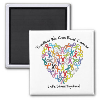 Together We Can Beat Cancer...Let's Stand Together 2 Inch Square Magnet