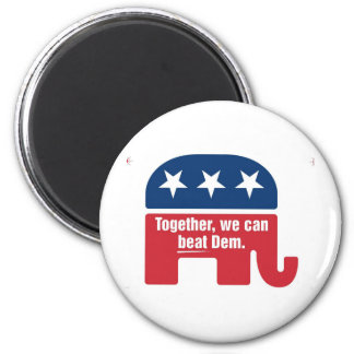 Together we can beat Dem ! 2 Inch Round Magnet