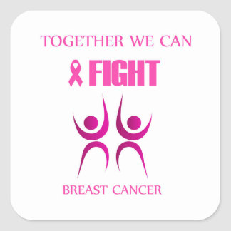 Together we can fight breast cancer square sticker