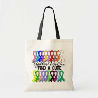 Together We Can Find a Cure Cancer Ribbons bag