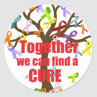 Together we can find a CURE Classic Round Sticker
