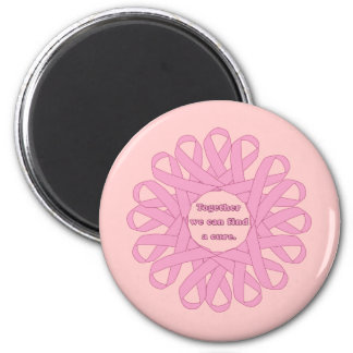 Together We Can Find a Cure Pink Ribbons 2 Inch Round Magnet