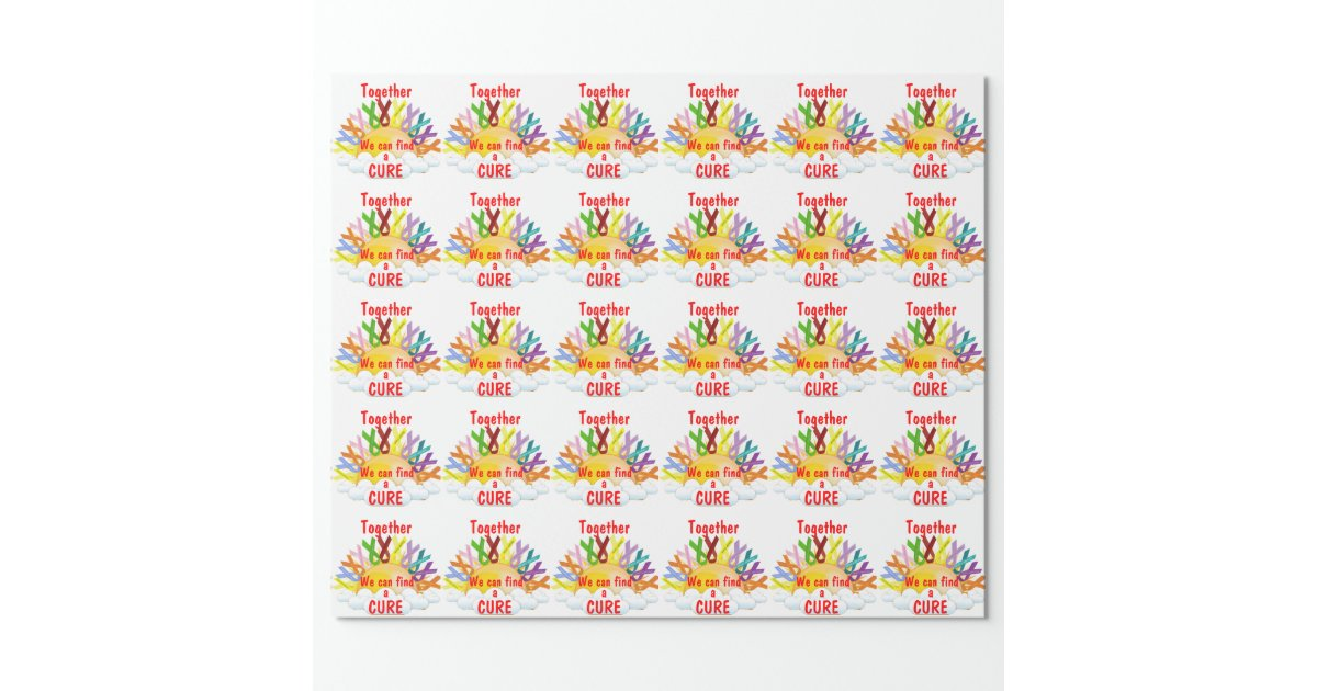 together we can find a cure wrapping paper zazzle. Black Bedroom Furniture Sets. Home Design Ideas