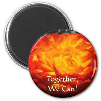 Together We Can! Office magnet Orange Rose