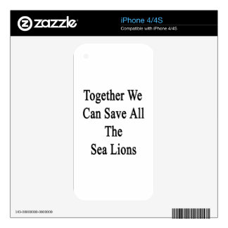Together We Can Save All The Sea Lions iPhone 4 Decal