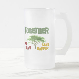 Together We Can Save Darfur 1 Frosted Glass Beer Mug