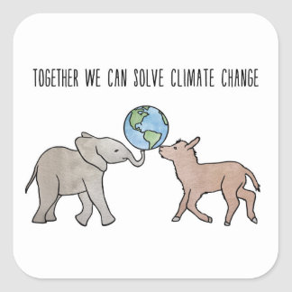 Together We Can Solve Climate Change Square Sticker