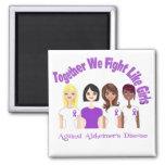 Together We Fight Like Girls Alzheimer's Disease Refrigerator Magnets