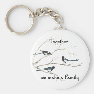 Together we make a Family Quote Magpie Bird Keychain