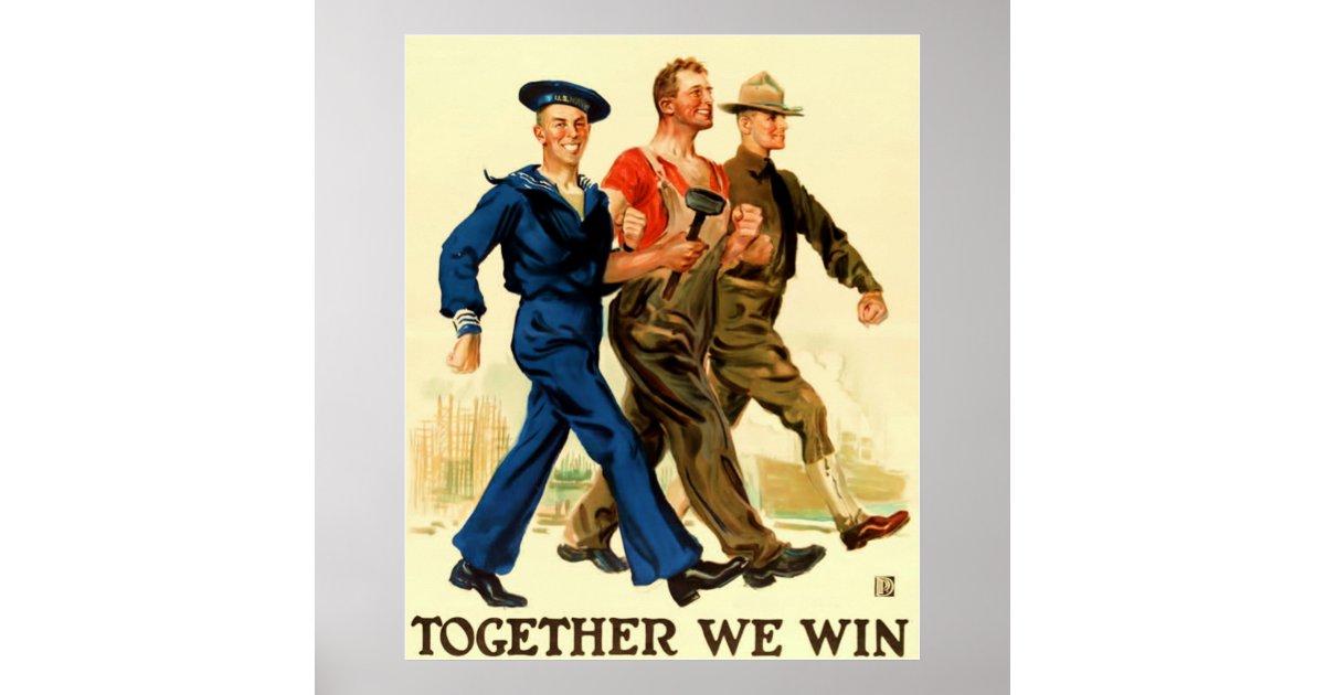 Together We Win Vintage World War 1 Poster Zazzle Com