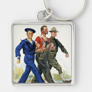 Together We Win, Vintage WWI Poster Keychain